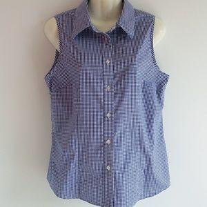 Evan-Picone Blue & White Check Cotton Top